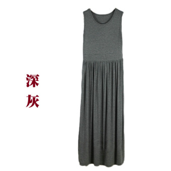 Modal loose thin long paragraph beach dress sling base skirt (Dark gray color)