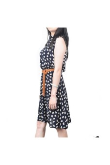 Moonar Floral Prints Bowknot Sleeveless Dress (Black) - picture 2