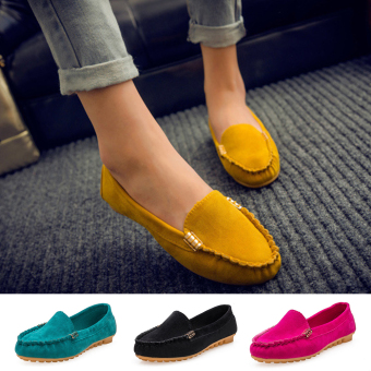Moonar Women Fashion Popular Casual Pure Color Boat Shoes Low Cut Suede Vamp Slip-on Shoes Loafers (Yellow)