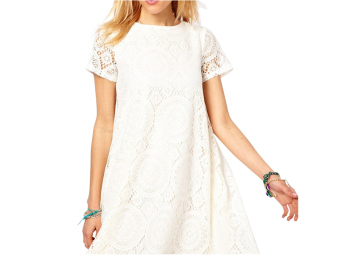 Moonar Women Hollow Out Lace Floral A-Line Mini Dress (White) - Intl Price Philippines