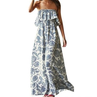 Moonar Women Summer Off-the-shoulder Falbala Evening Party Blue And White Porcelain Floral Beach Elegant Long Dress - intl Price Philippines