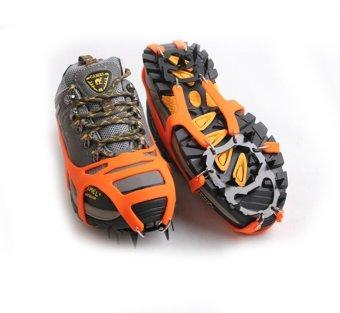 Mountaineering Hiking Crampons 18Teeth Outdoor Antislip Ice Shoe Spikes L orange - 4