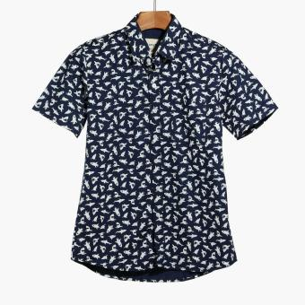 Mr. Smyth Mens Graphic Pattern Casual Shirt (Navy Blue)