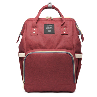 Multi-functional pregnant women's large capacity out backpack mommy bag (Wine red color function version [to send handbag])