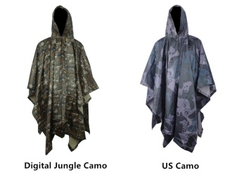 Multifunctional Military Impermeable Camo Raincoat Waterproof RainCoat Men Women Camping Fishing Motorcycle Rain Poncho - intl - 3