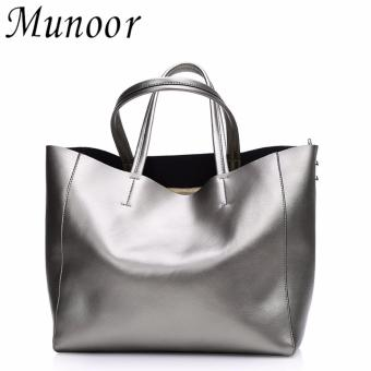 Munoor Womens Tote Bags 100% Genuine Cowhide Leather Fashionable Shoulder Lady Bags Handbags for Travel (Galaxy) - intl