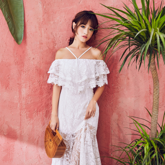 Nara lace beach dress (White)