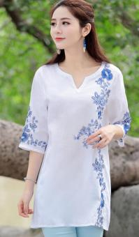National Style cotton linen three-dimensional embroidered flowers Top T-shirt shirt (White) (White)