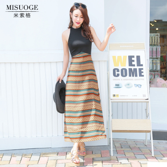 National Style high-waisted autumn travel dress bohemian dress skirt