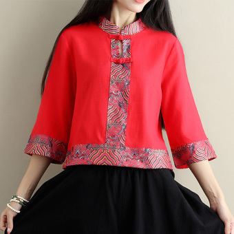 National Wind collar plate buttons Slimming effect Chinese short-sleeved Top costume dress