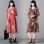 National Wind Linen color autumn dress (Black)