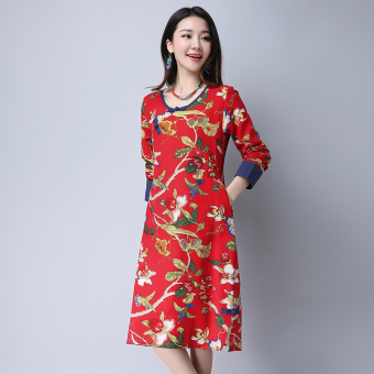 National Wind Linen spring New style long-sleeved dress (Red)