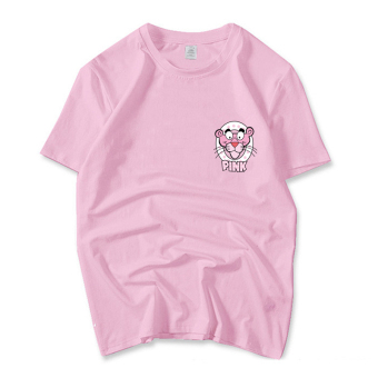 Naughty leopard cotton pink style short-sleeved t-shirt (Small pink leopard pink)