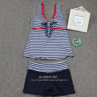 Navy striped swimming clothing