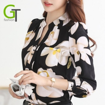 New 2017 Fashion V-Neck printing Chiffon Blouses Slim Women Office Work Wear shirts Women Tops Plus Size - intl