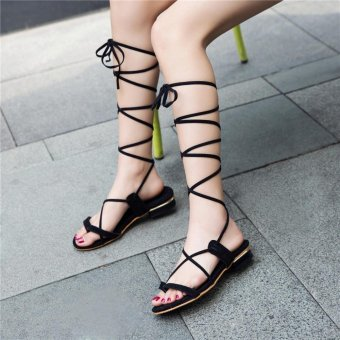 New 2017 Shoes Women Sandals Lace Up Sexy Knee High Boots RomanGladiator Strappy Casual Flat Sandals Top Quality - intl