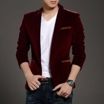 New Arrival Men's Casual Blazers Button Stylish Slim CorduroyBlazer Male Fashion Suit Jacket(Brown) - 2