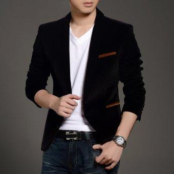 New Arrival Men's Casual Blazers Button Stylish Slim CorduroyBlazer Male Fashion Suit Jacket(Brown) - 3