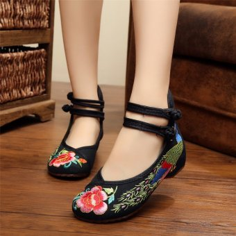 New Chinese Style Women Casual Shoes Flower Sandals Embroidered Flats Mary Janes -Intl - 2