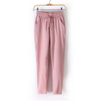 New European Candy Color Casual Harem Pants -Pink