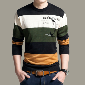 New Fall Fashion Men's Cotton Round Neck Long-sleeved Striped Sweater(Green)