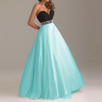 New Fashion Women Sexy Bridesmaid Strapless Ball Gown Cocktail Maxi Dress