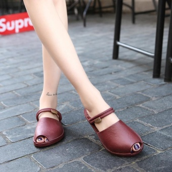 New Flat Sandals Fish Mouth slides Hot Style Summer slippers forWomen's Shoes(champagne) - intl