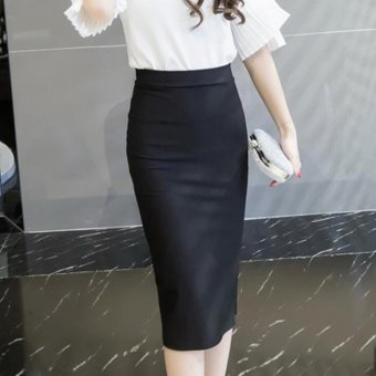 New Formal High Waist Knee Length Slim Pencil Skirt Bodycon OL Skirt Lady Career Skirt Plus Size Women Clothing 5XL Black - intl