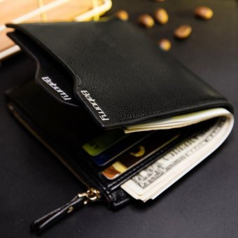 New Men Wallets Design Top RFID Antimagnetic Anti RFID Men ShortWallet with the Zipper Wallet - Black - intl