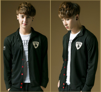New Men's Fashion Embroidered Red Button Slim Sports SweaterCardigan (Black) - 3