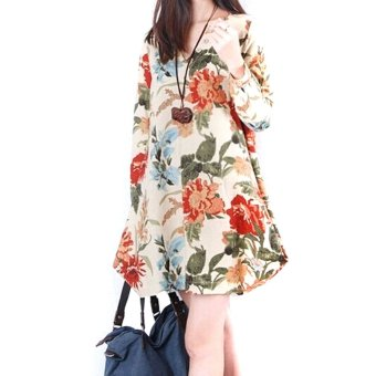 New Sexy Womens Floral Linen Long Sleeve V-Neck Cute Party Evening Short Mini Dress Apricot
