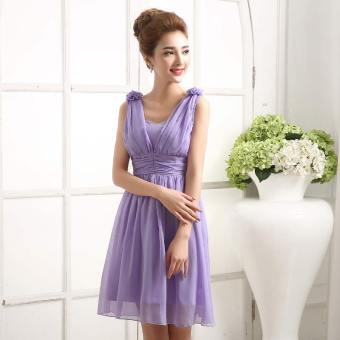 New style autumn Korean-style boob tube top dress sisters dress bride wedding veil (198 Violet long) (198 Violet long)