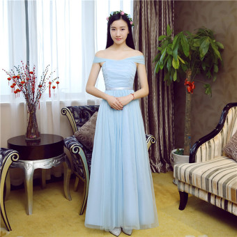 New style bridesmaid dress Dress bridesmaid dress (Sky blue color tie shoulder can be to do Halter)