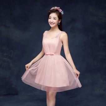 New style bridesmaid slimming sisters skirt dress bridesmaid dress (B models bare Powder)