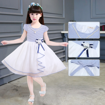 New style children's short sleeved summer princess skirt dress (Blue)