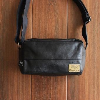 New style man bag three box fashion small chest pack shoulder small square bag storage messenger bag Stylish retro mineral water bag (Black) - intl