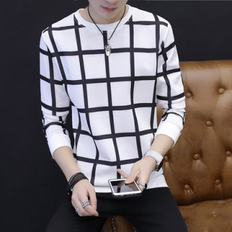 New style men's long-sleeved autumn hoodie base shirt (Grid white)