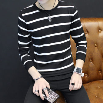 New style men's long-sleeved autumn hoodie base shirt (Small striped black)