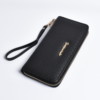 New style multi-functional large capacity female clutch bag women's wallet (Black)