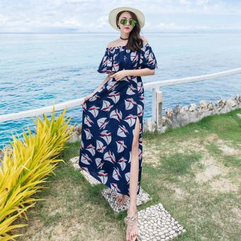 New style word collar lotus leaf edge bohemian dress beach dress (Blue)