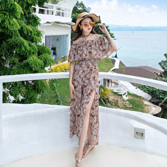 New style word collar lotus leaf edge bohemian dress beach dress (Coffee color)