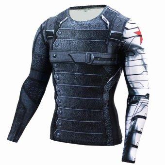 New Superhero Winter Soldier Bucky Superman Anime 3D T ShirtFitness Men Crossfit T-Shirt Long Sleeve Compression Shirt - intl - 5