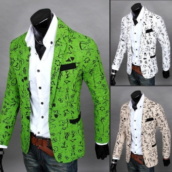 New Top Mens Floral Suits Printed Casual Jackets for Man Fashion Formal Blazers 1 Button Coat - intl - 3
