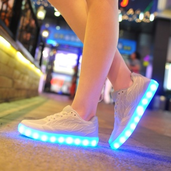 New USB charging LED night light shoes summer Korean cool withlight board shoes(White) - intl