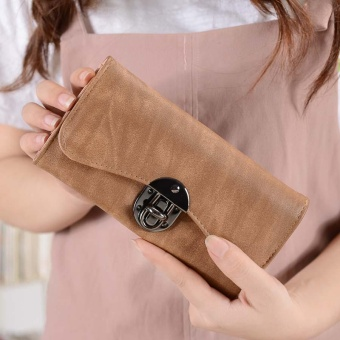 New Wallet Female Long Section Three Fold Package Fashion KoreanStudents Lock Multifunctional Ladies Wallet Hand Bag Khaki - intl