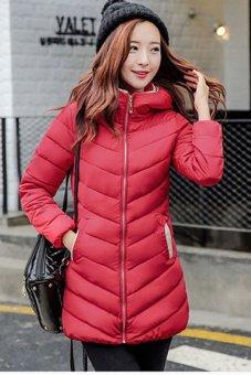 New Woman's Winter Jacket Down Cotton Jacket Slim Parkas Ladies Coat(Red) (Intl) - 2
