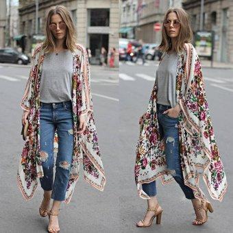 New Women Chiffon Kimono Cardigan Floral Print Asymmetric Boho Loose Outerwear Beachwear Bikini Cover Up White - intl - 4