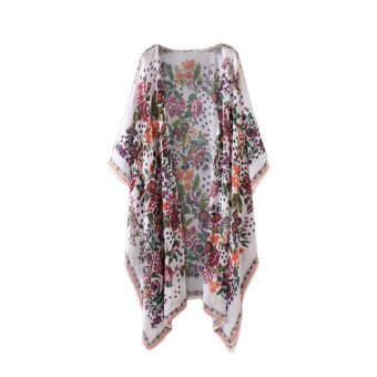 New Women Chiffon Kimono Cardigan Floral Print Asymmetric Boho Loose Outerwear Beachwear Bikini Cover Up White - intl - 3