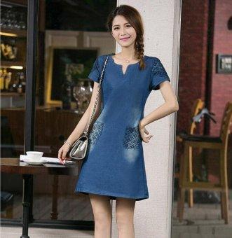 New Women Denim Dress Short-sleeved V Collar Loose Slim Was Thin Dress - intl - 3