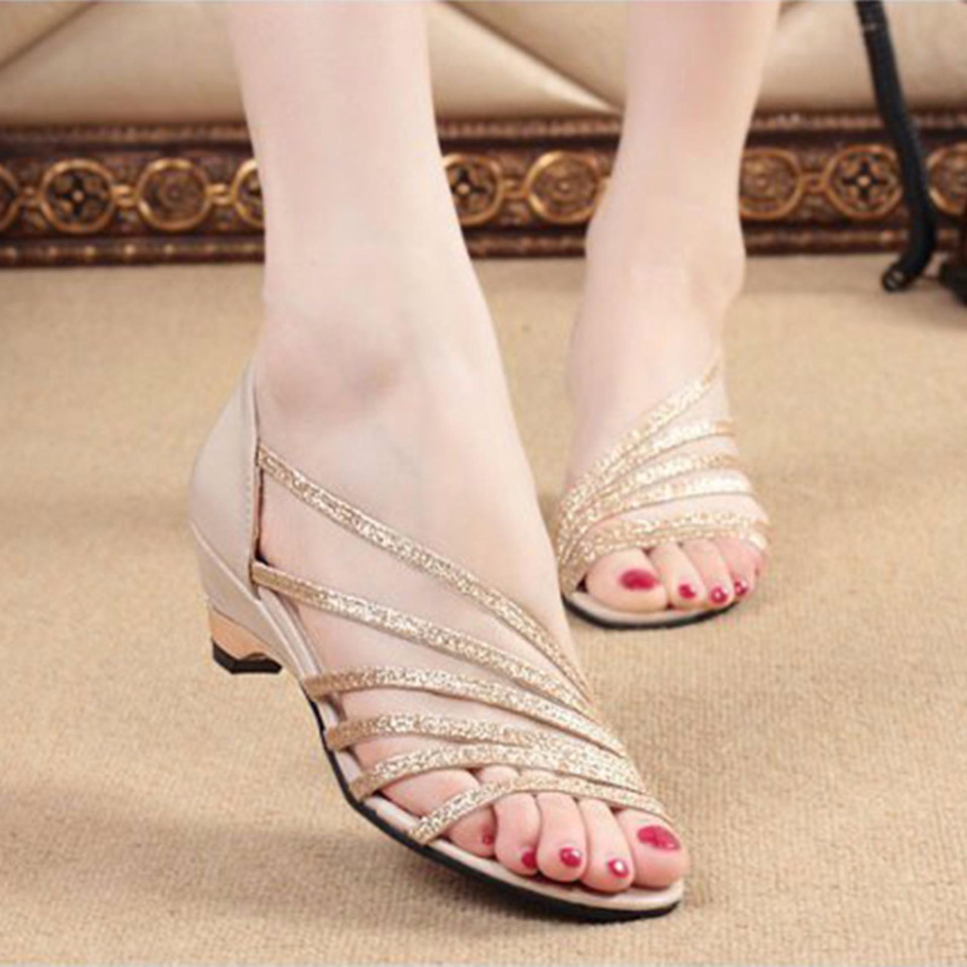 ... New Women's Rome Style Sandals Bling Low Heel Shoes Sandals Female(Gold) - intl ...
